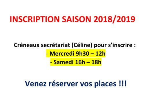 Inscription saison 2018 2019