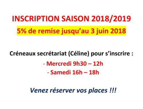 Inscription saison 2018 2019