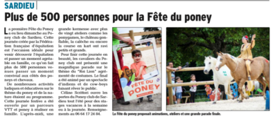 Article du dauphiné fête du poney
